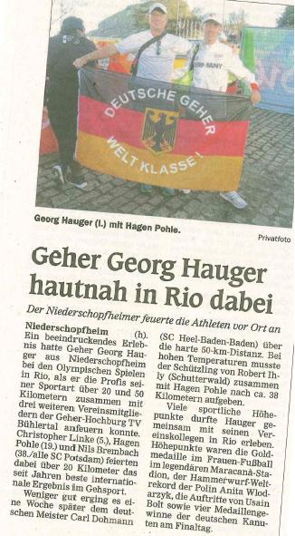 1608 Rio, Geher in Zeitung